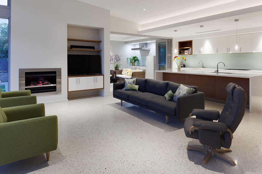 Classy concrete floors add a very contemporary touch to the open living areas.