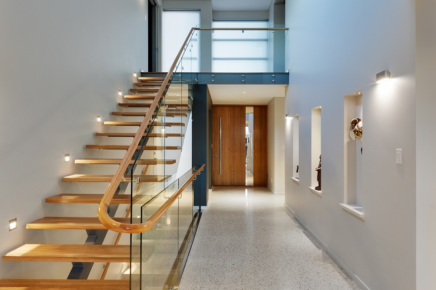 Beautiful timber staircase and handrail in luxury Dianella home.