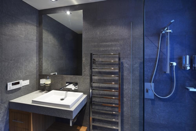 stone tile walls, glass shower screen and modern square sink in second bathroom.