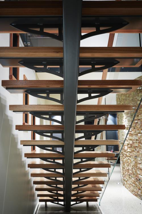 bottom view of timber stairs.