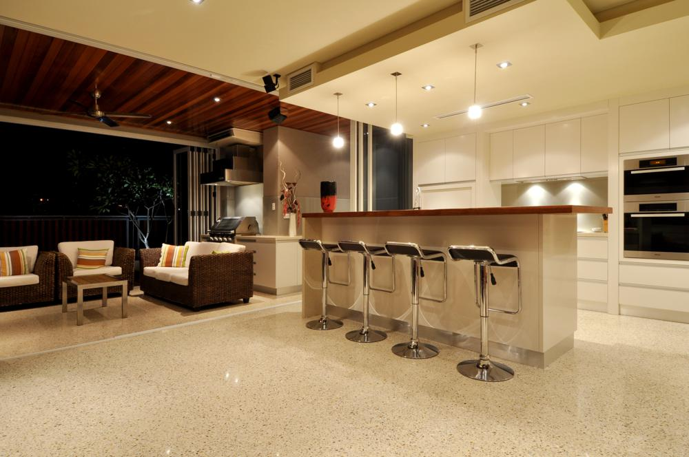 stylish and practical concrete floor in kitchen.