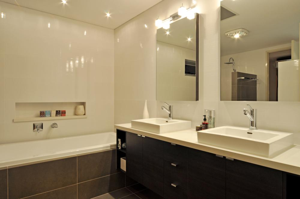 classic bathroom with double sinks.