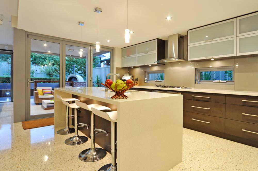 renovation included a beautiful light filled modern kitchen.