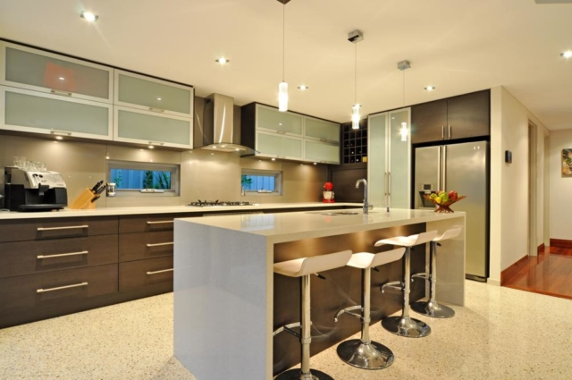 this renovated mt hawthorn home boasts a spacious contemporay kitchen.