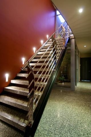 Open staircase on narrow lot home