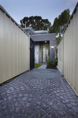 patterned brick access path.